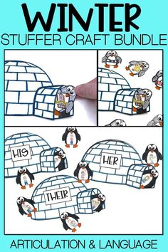 "FUN winter speech therapy craft. Your students will love to ""stuff"" penguins into the igloo as they practice their articulation and language skills. Perfect for mixed groups. Click for more info."