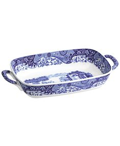 Spode Blue Italian Handled Serving Dish & Reviews - Serveware - Dining - Macy's Serveware, Tableware, Pottery Classes, Serving Dishes, Decorative Bowls, Tray, Porcelain, Ceramics, Fruit
