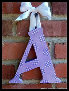 """Purple Polka Dot """"A"""" custom Boutique Wooden Wall Letter or Barrette-n-Bow Holder"""