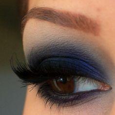 Deep blue smokey eye madness! For Brown eyes