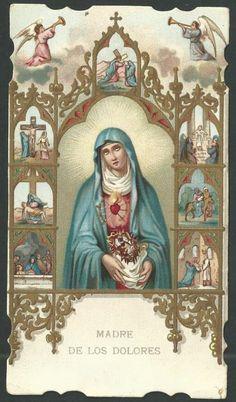 """Allí estabas ¡oh Virgen!"""" más que todos/ los mártires sufriendo generosa;/ pues padeces la muerte más penosa,/ sin llegar a morir./"""
