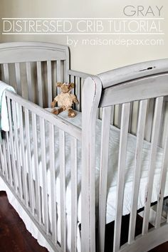 Gray Crib Makeover Want a Pottery Barn style crib without the price? See this tutorial for a stunning crib makeover at Want a Pottery Barn style crib without the price? See this tutorial for a stunning crib makeover at Baby Nursery Diy, Baby Boy Rooms, Baby Boy Nurseries, Baby Cribs, Nursery Room, Nursery Ideas, Diy Baby, Nursery Grey, Modern Nurseries