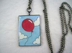 Handpainted Necklace- Red Balloon via Etsy