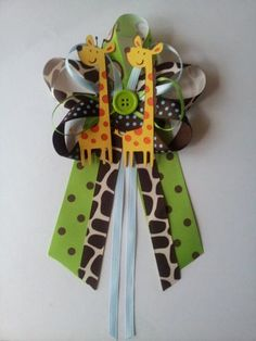 Jungle, safari or zoo, Giraffe baby shower pin/corsage