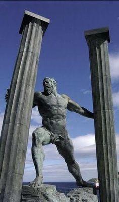 Statue of The Pillars of Hercules in Ceuta. Pillars Of Hercules, Art Sculpture, Greek Art, Greek Gods, Gods And Goddesses, Ancient Greece, Art Plastique, Oeuvre D'art, Art History