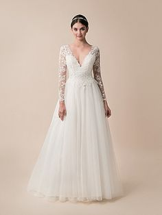Moonlight Tango T793 Lace Ball Gown Wedding Dress with Long Sleeves