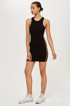 3ca3f33da475 Womens Petite Rainbow Stripe Bodycon Dress - Black