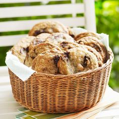 For a pretty presentation put cookies in a wicker basket. More ways to organize outdoor party food and drinks: http://www.bhg.com/party/birthday/themes/how-to-organize-outdoor-party-food-and-drinks/?socsrc=bhgpin082213cookiebasket=6
