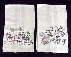 2 VINTAGE Towels Kitty Cat EMBROIDERED FLOUR SACK FEED SACK DISH TOWELS