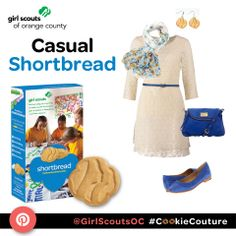 "This casual outfit ""Casual Shortbread"" is inspired by the Trefoil Shortbread Girl Scout Cookie. #CookieCouture"
