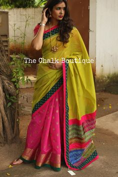 Festive benarasi zari saree in pink and green with kantha accents.Skirt Part is pink banaras zari booti silk.Pallu part in green Chanderi Silk with hand kantha silk accents.Blouse is bananras silk brocade. Ethnic Outfits, Indian Outfits, Blouse Styles, Blouse Designs, Katan Saree, Block Print Saree, Silk Brocade, Indian Attire, Indie Fashion