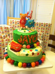 Daniel Tiger Birthday Cake with hand-sculpted figures!!