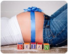 Love How The Picture Announces The Name With Blocks & A Blue Ribbon/Bow That The Baby To Be Is A Boy...