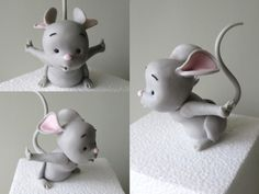 Tutorial: Fondant or Clay mouse - and the cake he goes on is SO cute!