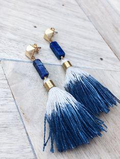 Finola Jewelry || FINN // LAPIS LAZULI BLUE TASSEL EARRINGS was $68.00  NOW $38.00! Lapis Lazuli Hand Dyed Tassels Hypoallergenic SS Earwires Approx. 3″ long Lightweight