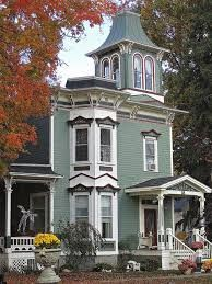 Image result for paintings with white victorians homes #victorianarchitecture