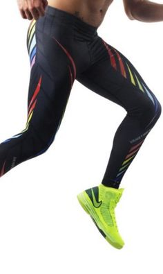 Rainbow Leggings Pride Runner. Dark grey activewear leggings with front and back rainbow graphics. |www.differio.com Stylish Mens Fashion, High Fashion, Tights, Leggings, Mens Activewear, Dark Grey, Looks Great, Active Wear, Pride