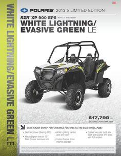 RZR® XP 900 EPS MODEL#:  R13JT9EAW WHITE Lightning / EVASIVE GREEN LE