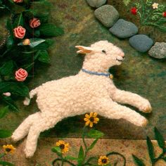 ♒ Enchanting Embroidery ♒  embroidered lamb by Salley Mavor