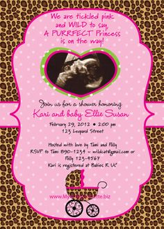 Sweet Leopard baby shower invitation and party items - Dreamers Into ...