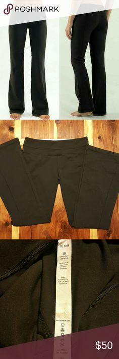 Lululemon Groove Pants - Flared All black Lululemon flared groove yoga pants- no defects or signs of wear. Logo on top center back on one side only but still looks reversible. Small waistband pocket. lululemon athletica Pants