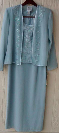 f0827718bd3ebd NWT R  M Richards Light Blue 2 piece cocktail wedding dress gown w  jacket  Sz 8