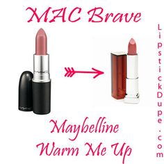 MAC Brave / Maybelline Warm Me Up | MAC Lipstick Dupes We Can't Live Without, check it out at http://makeuptutorials.com/mac-lipstick-dupes-makeup-tutorials
