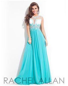 Rachel ALLAN Prom - 6820 High mesh neckline with lace applique on bodice and a chiffon skirt lilliansonline.com