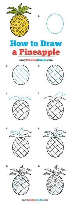 Learn How to Draw a Pineapple: Easy Step-by-Step Drawing Tutorial for Kids and Beginners. #Pineapple #drawingtutorial #easydrawing See the full tutorial at https://easydrawingguides.com/how-to-draw-a-pineapple/. #ArtAndCraftStepByStep