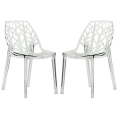 Modern Flora Clear Cut-out Transparent Dining Chairs (Set of 2) | Overstock.com