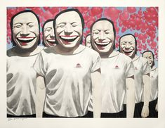 Happiness Yue Minjun  Date : 2007  Support : Lithographie  Dimension : 70 x 90 cm