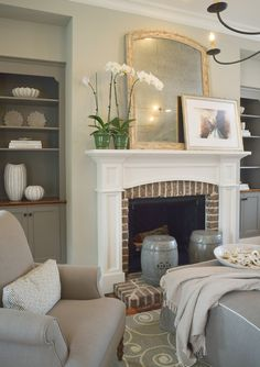 Custom Mantel with Brick Surround and Low Raised Brick Hearth – farmhouse fireplace tile Fireplace Tile Surround, Fireplace Redo, Cottage Fireplace, White Fireplace, Farmhouse Fireplace, Fireplace Hearth, Fireplace Remodel, Fireplace Surrounds, Fireplace Design