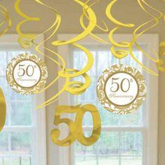 Gold Anniversary Decorative Swirls | 12ct, 1.5'