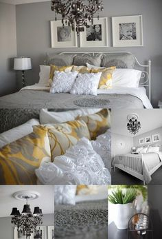 Grey, Yellow and White Bedroom Decor.  I don't love all of it, but some of it is great!