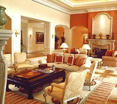 Traditional Great Room in an Italian Villa - Warren Sheets design