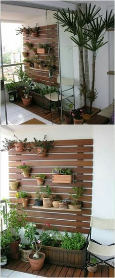 77 cool ideas for space-saving furniture, with which you coquettishly design the small balcony - Balkon Ideen Outdoor Walls, Outdoor Living, Outdoor Balcony, Outdoor Spaces, Walled Garden, Apartment Balconies, Apartment Plants, Apartment Ideas, Side Wall