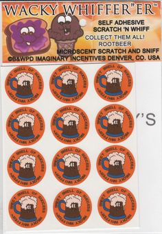"""Wacky Whiffer Whiffers """"ER"""" MICROSCENT MATTE STICKERS SCRATCH'N SNIFF ROOTBEER! #ImaginaryIncentivesWackyWhifferER"""