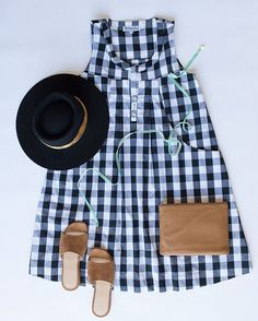 Wearing our fav new season Gingham Smock Dress with tan accessories and a fab hat (for the unwashed locks) on this fine weekend. Bliss! ☺☀