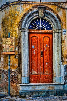 Directions and Doorway Ravello, province of Salerno , Campania region Italy Knobs And Knockers, Door Knobs, Old Doors, Windows And Doors, Porches, Orange Door, When One Door Closes, Vintage Doors, Unique Doors