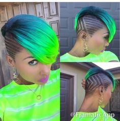 Green blue neon undercut design shaved hair - New Hair Design Ombré Hair, Hair Dos, New Hair, Short Hair Cuts, Short Hair Styles, Short Green Hair, Neon Green Hair, Shaved Hair Designs, Hair Tattoos