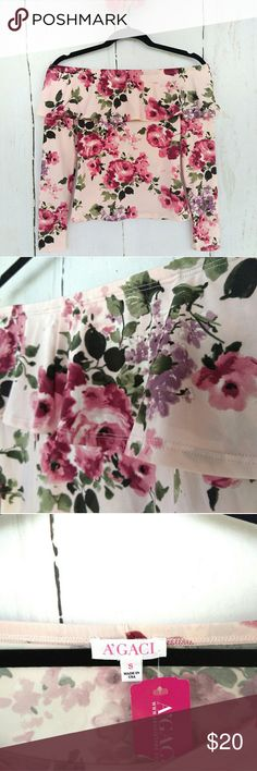 """*FIRM* A'GACI Pink Floral Off Shoulder Ruffle Top Hot for Fall!  NWT. Excellent Condition.  Size S. Measures approx. 14"""" flat across """"top"""", 21"""" long, 15"""" pit to pit flat, 13"""" flat across """"waist,"""" 21"""" sleeve length. 96% poly, 4% spandex.  Pink floral A'Gaci, flounce off shoulder fitted top with full top ruffle. Long sleeve. Looks identical in the front and back. Stretchy and soft! Would look adorable with skinny jeans and cognac boots or slacks! a'gaci Tops Blouses"""