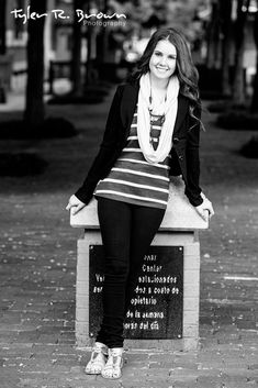 Kaylee looks pretty in this black and white portrait, taken in Downtown Dallas.