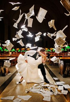 Love this photo! Boston Public Library Wedding: Erika and Chip Tear Up the Place. Books and love flying - wedding photo Wedding Book, Wedding Themes, Wedding Pictures, Wedding Ceremony, Dream Wedding, Wedding Day, Wedding Music, Wedding People, Storybook Wedding