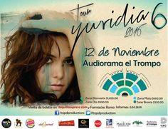 Yuridia en Tijuana el próximo 12 de noviembre en el Trompo aquí los precios de los boletos y locaciones. Mas información al 634-36-14