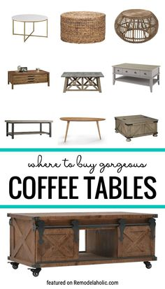 Where To Buy And How To Style Gorgeous Coffee Tables Featured On Remodelaholic.com #coffeetables #livingroomfurniture #livingrooms Large Coffee Tables, Diy Coffee Table, Sofa End Tables, Entryway Tables, Wood Slab Table, Blogger Home, Living Room Furniture, Living Rooms, Home Projects
