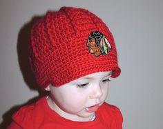 Handmade Chicago Blackhawks Crochet Newsboy Hat with Blackhawks Patch / NHL Baby / Photo Prop / Custom Made Infant, Baby