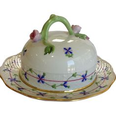 Herend Blue Garland Covered Butter Dish