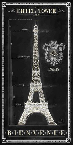 - White Eiffel Tower on Black Chad Barrett, Paris In Spring, Paris Poster, Paris Art, Paris Decor, Paris Images, Typography Layout, Vintage Paris, Oui Oui