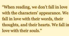 True love of character through reading...