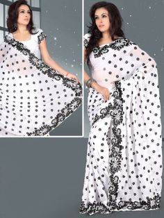 Whey Off #White Faux Georgette #Saree with Blouse